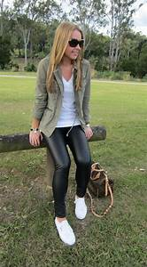 Club monaco tasha leather leggings + jcrew khaki field jacket + superga cotu sneakers | CLOTHING ...