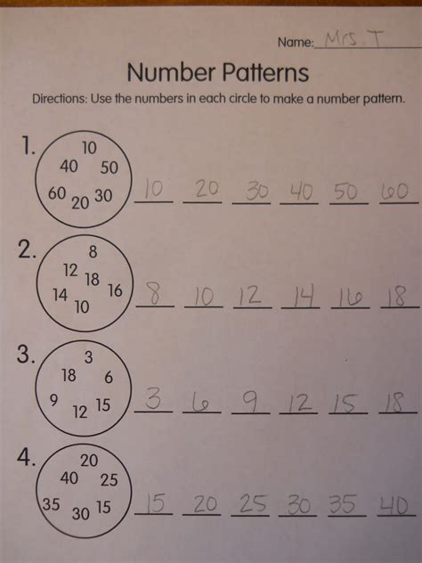 mrs t s grade class number patterns