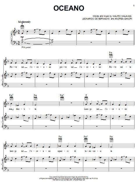 oceano sheet   josh groban piano vocal guitar