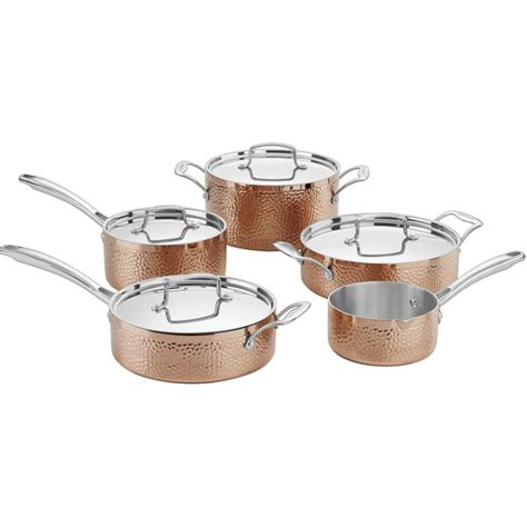 shop cuisinart hammered copper tri ply  piece cookware set copper  shipping today
