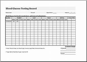 blood glucose testing record sheet template word excel With blood sugar log book template