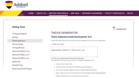 thesis statement generator tool