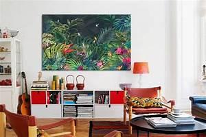 Toile Deco Salon : papier peint design et tableau d co jungle moderne blog izoa ~ Teatrodelosmanantiales.com Idées de Décoration