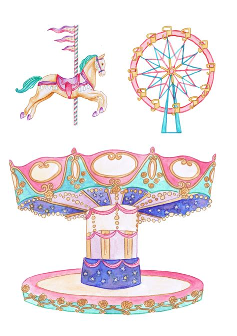 fairground carousel  printables  papercraft