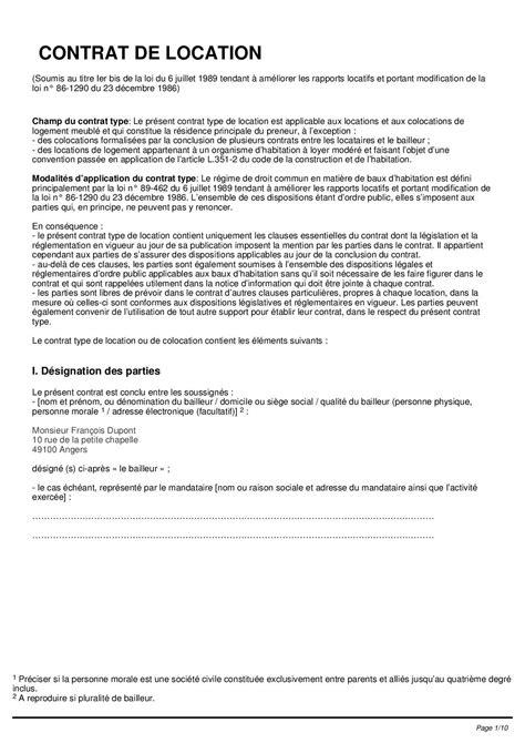 modèle contrat de location meublé contrat location maison individuelle gratuit ventana