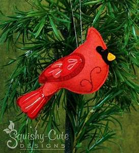 Felt Cardinal Ornament Pattern by Squishy-Cute Designs