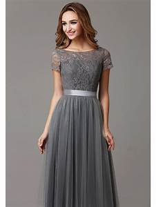 grey long modest lace tulle floor length women bridesmaid With long grey dress for wedding