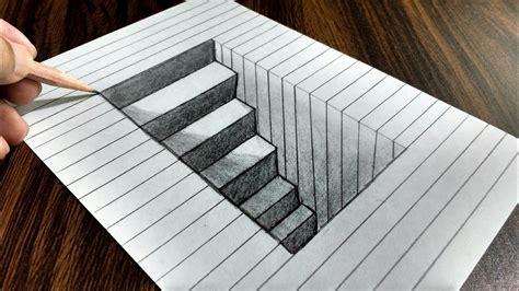 draw  steps   hole  paper trick art doovi