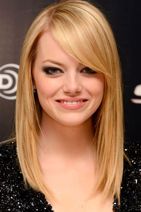cute medium length hairstyles with side bangs for thin