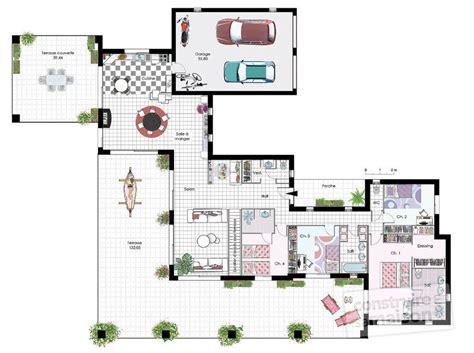 plan de maison moderne plain pied 4 chambres maison de plain pied 4 d 233 du plan de maison de plain