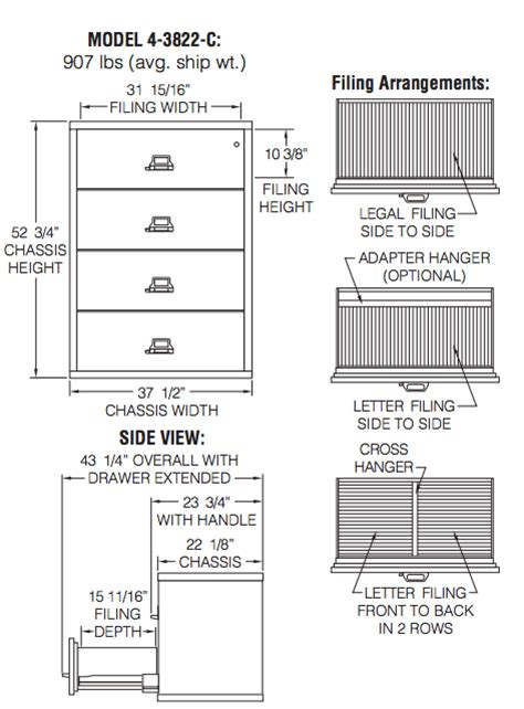 File Cabinet Sizes by Fireking File Cabinets Fireking 4 3822 C Four Drawer