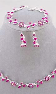 Hot Pink Flower Rhinestone Necklace Bracelet Earrings Set ...