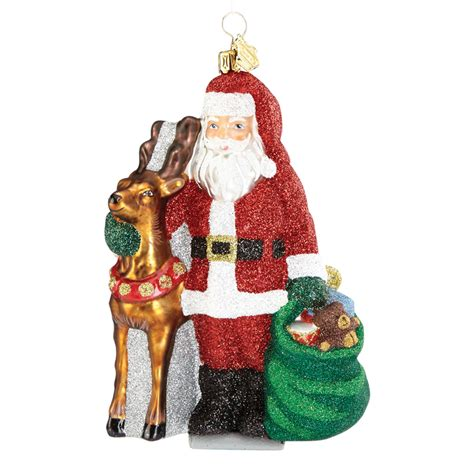 christmas ornaments santa santa and reindeer ornament 2016 ornament by reed and barton