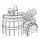 Vine Grapes Glass Barrel Carafe Wooden Glas Drawing Rebe Trauben Houten Vector Vetro Vite Barilotto Fass Della Wijnstok Grape Vigne sketch template