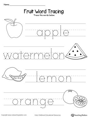 fruit word tracing myteachingstation com