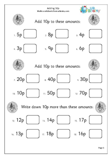 adding 10p 2 money maths worksheets for year 1 age 5 6