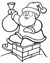 Chimney Coloring Christmas Pages Santa Down Drawing Going Colouring Stuck Getdrawings sketch template