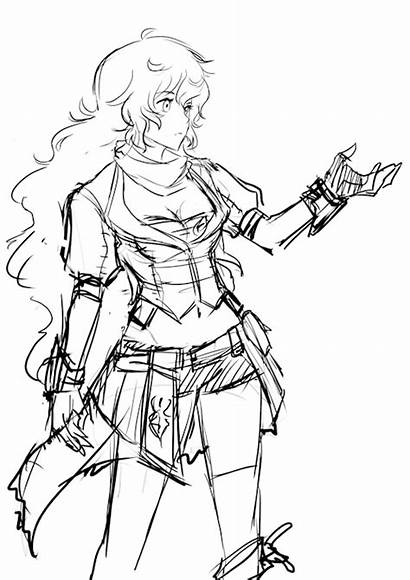 Coloring Pages Rwby Yang Sketch Xiao Weiss