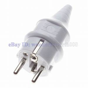 2 X Schuko Type European 4 8mm Pin Rewireable Ac Power Plug 250v 16a White Color