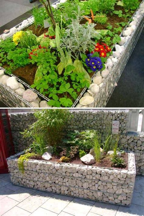 white gabion raised bed border  diy garden bed edging