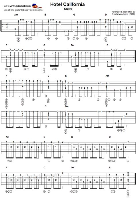 Hotel California  Guitar Chords Tablature  Muzika  Pinterest  Cours De Guitare, Partitions