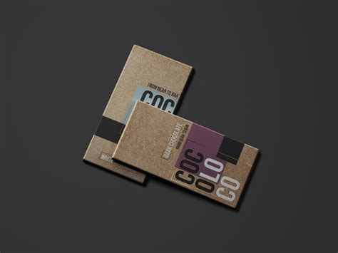 Layered psd easy smart object insertion license: Briefbox — Cocoloco chocolate bar mockup by Breanna Smith