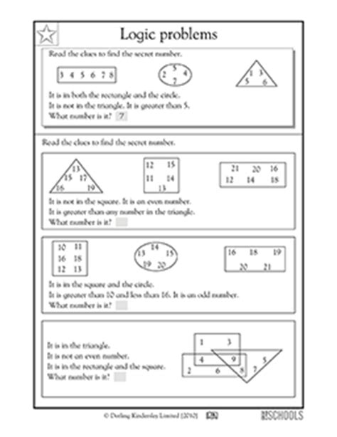 3rd grade 4th grade math worksheets logic problems