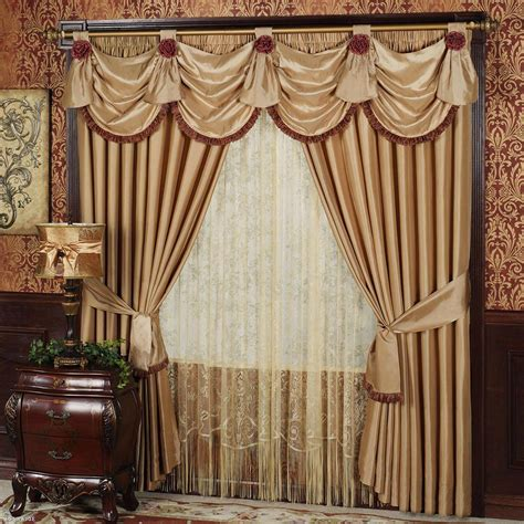 Living Room Drapes With Valances  Window Treatments
