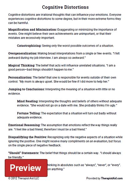 Play a sample of happyneuron pro exercises! Cognitive Distortions (Worksheet) | Therapist Aid