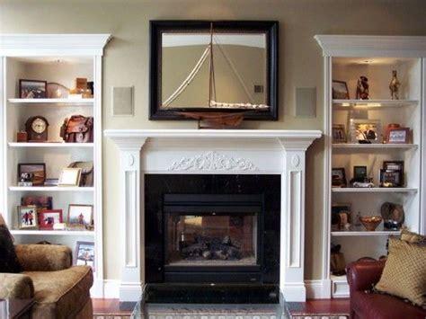 fireplace  bookshelves   sides bookshelves