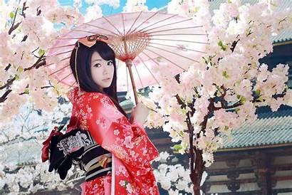 Kimono Geisha Sakura Umbrella Azjatka Parasol Asian