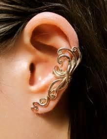 unpierced ears ear cuff swirl earring spiral earring ear wrap bronze