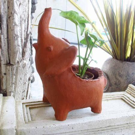 terracotta elephant planter  knick knacks