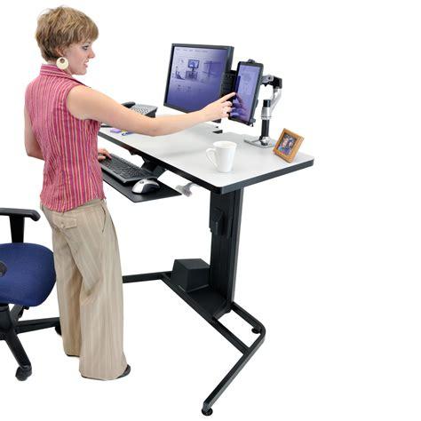 position bureau ergonomique ergotron workfit d sit stand desk bras pied ergotron