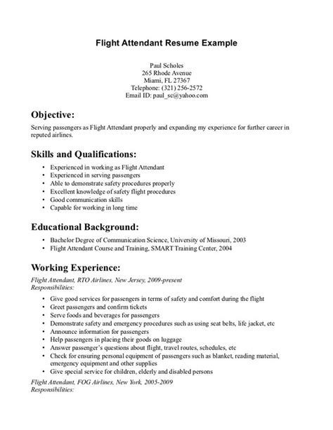 Food Attendant Resume Objectives by Flight Attendant Resume Monday Resume