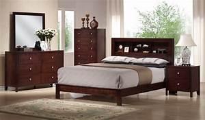 Baxton studio montana mahogany brown wood 5pc queen modern for Mahogany bedroom set