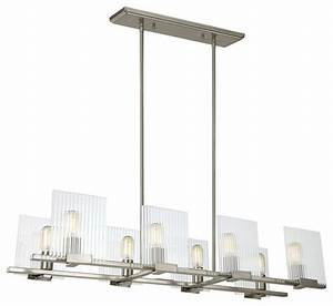 Eight light island chandelier brushed nickel