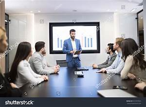Business Meeting Presentation Modern Conference Room Stock