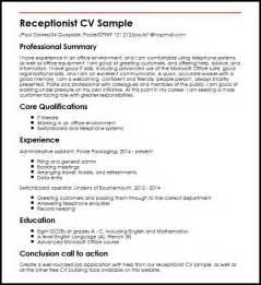 Receptionist CV Sample MyperfectCV