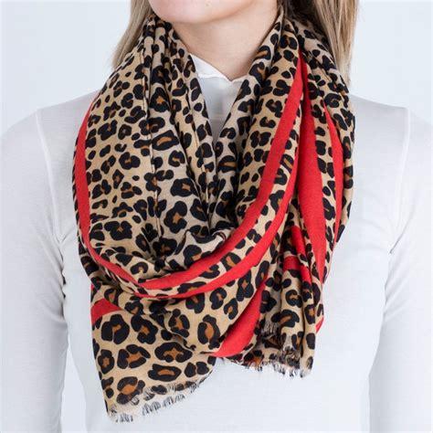 pom leopard print scarf  red stripe brownred