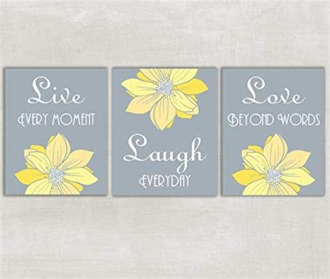 This delicate script features a brown painted finish that enhances any decor for a crafted with elegant flowing scrollwork accents, this lovely wall mount 3d decor piece is a wonderful gift for birthdays, engagements, weddings. Amazon.com: Live Laugh Love Yellow and Gray Wall Art - Set of 3 5x7 or 8x10 Prints ((unframed ...