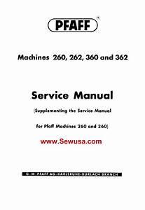 Pfaff 260 262 360 362 Supplement Service Manual Pdf Download