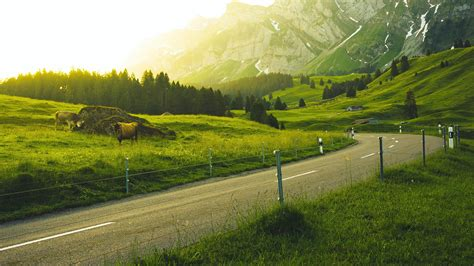 wallpaper countryside country road mountains landscape