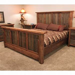 rustic reclaimed barn wood bed With barn wood king bed frame