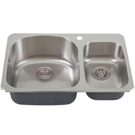 overmount stainless steel sink ticor s997 overmount 18 gauge stainless steel double bowl