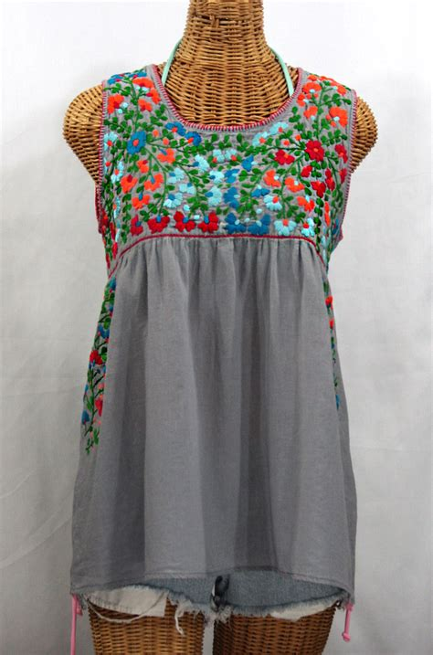 embroidered peasant blouse quot la sirena quot sleeveless peasant blouse grey