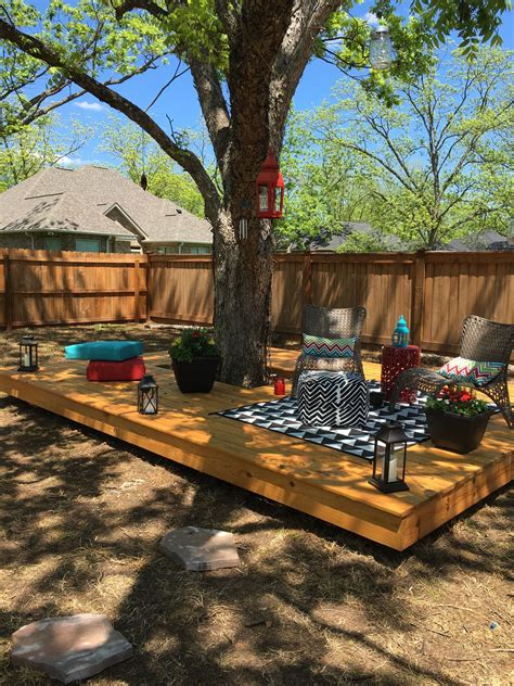 Backyard Built by Floating Deck Around A Tree Back Yard In 2019