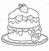 Coloring Cupcake Cake Colouring Strawberry Printable Drawing Shopkins sketch template