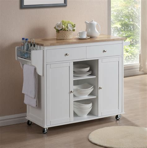 Meryland White Modern Kitchen Island Cart  Affordable