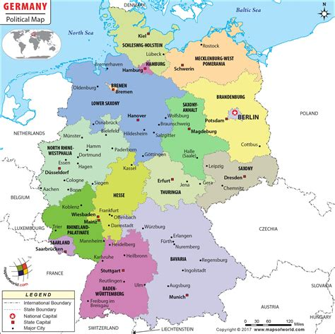 Political Map Of Germany Germany States Map